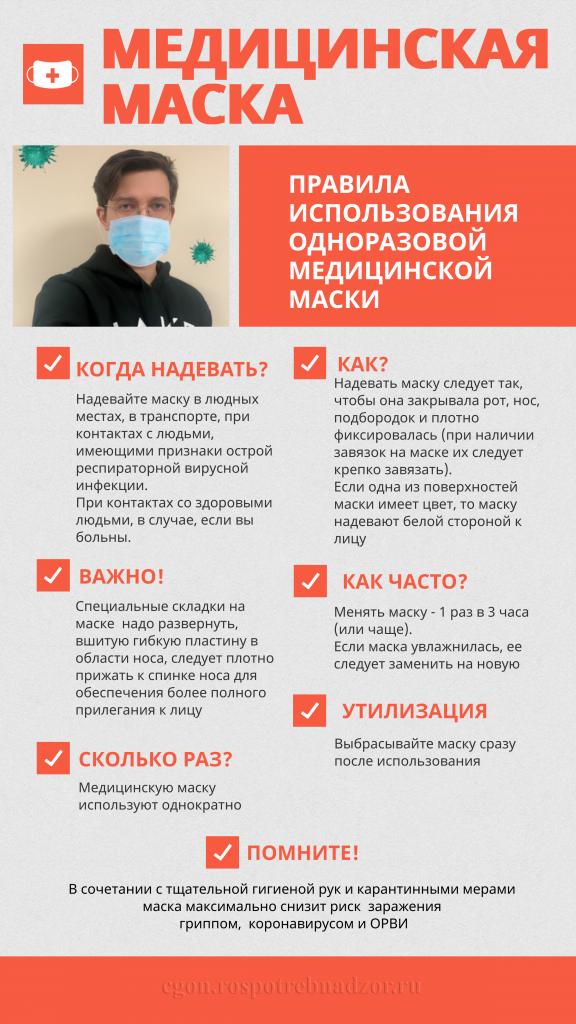 Правила использования одноразовой маски